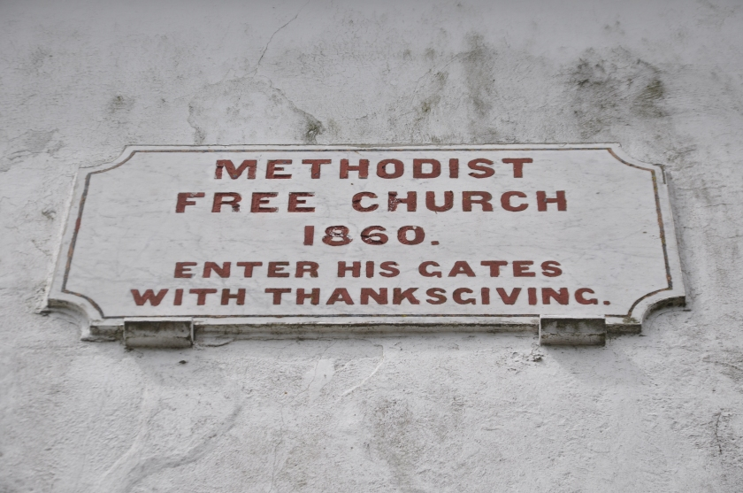 Cornwall, England, Charles Wesley's church sign