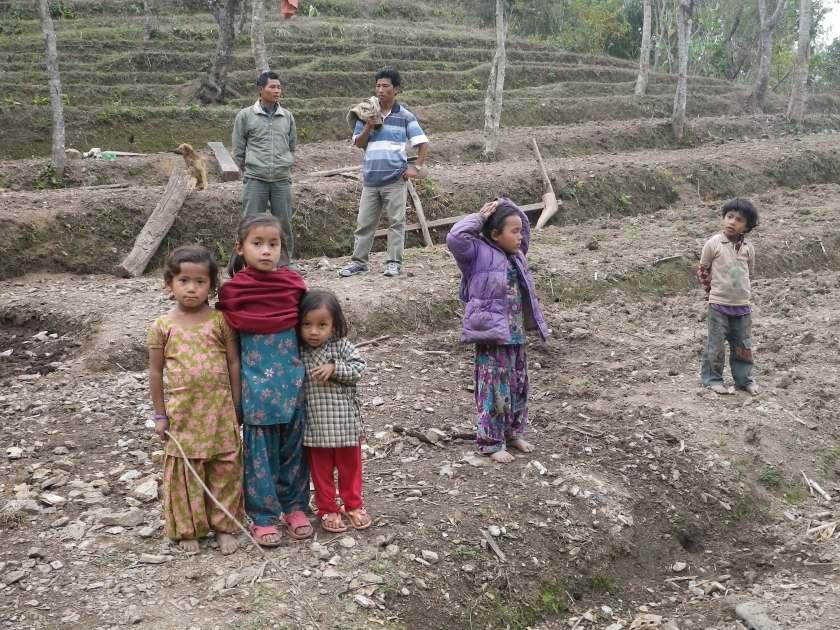 Nepalese children in farm field