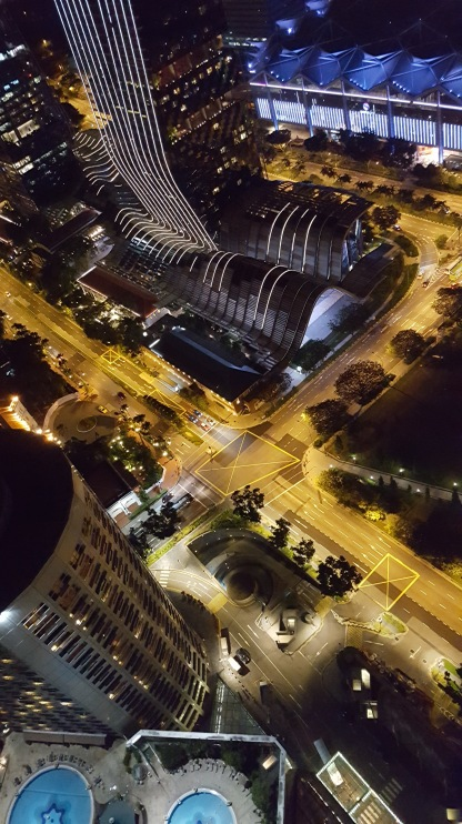 Singapore at night 3, vertical, looking down to street