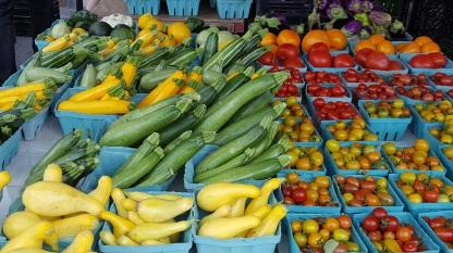 Summer squash, tomatoes, Charlottesville farmers market