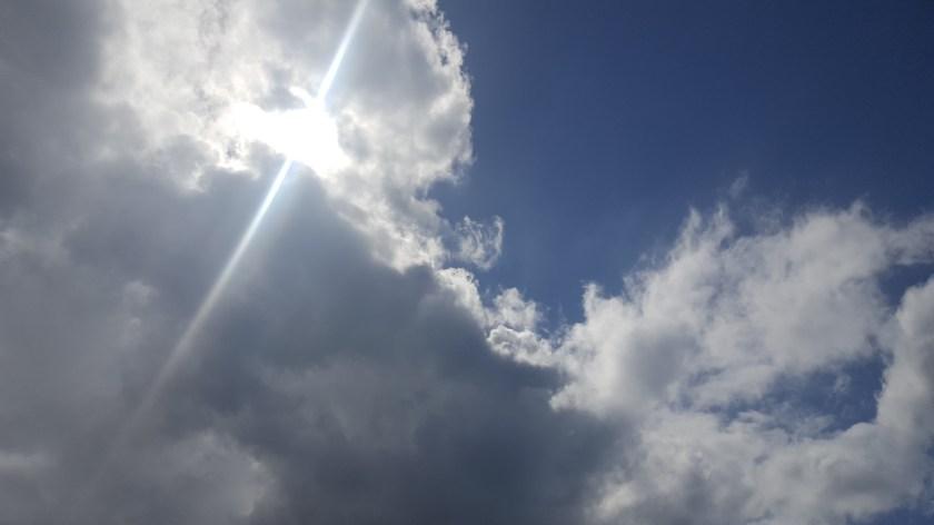 Sun glory behind clouds