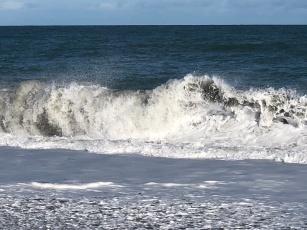 Waves crashing sand, rocks 3, Western NZ