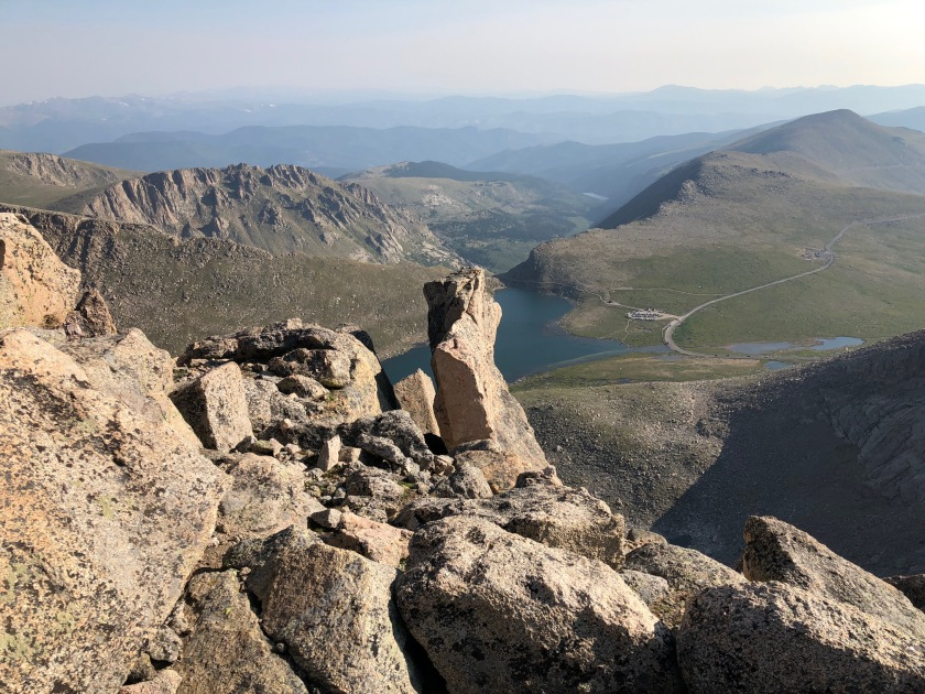 Colorado Rockies, view from the top, lake, distances