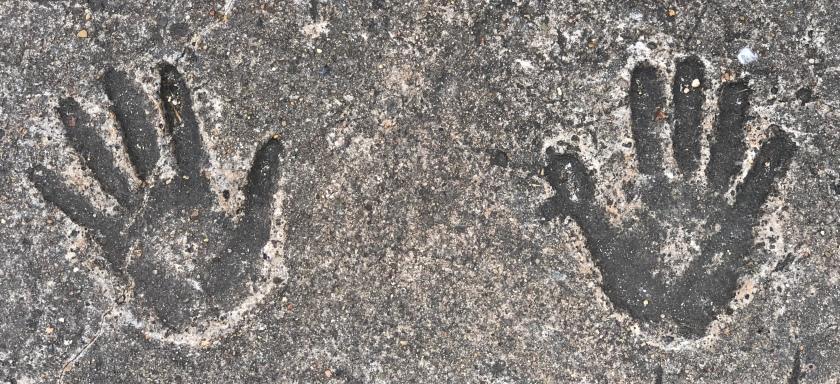 Hands in sidewalk, Sydney