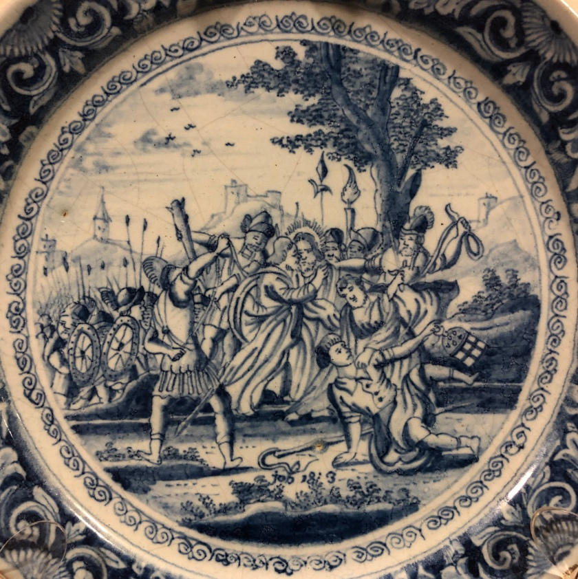 Jesus betrayed with a kiss, 18th century Dutch Delft