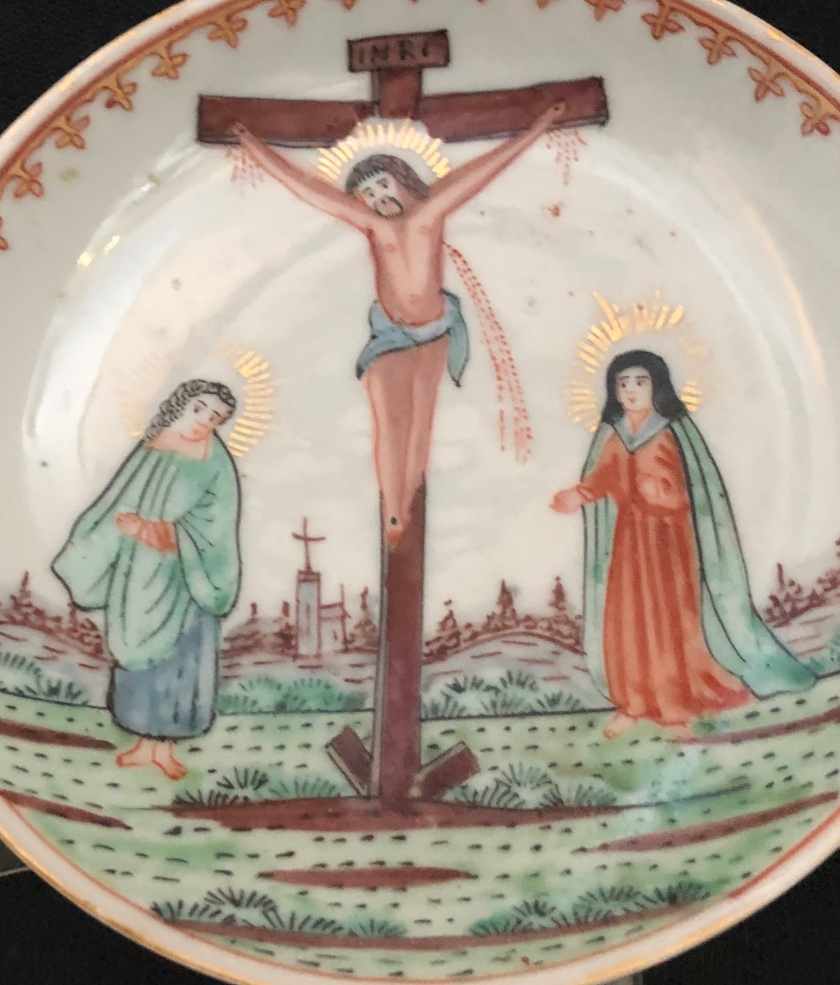 Jesus on the cross w blood, saucer 18th century