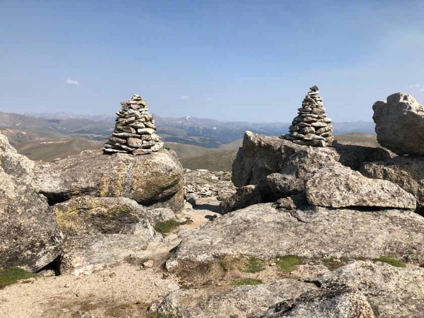 Colorado Rockies, tree-shaped cairns