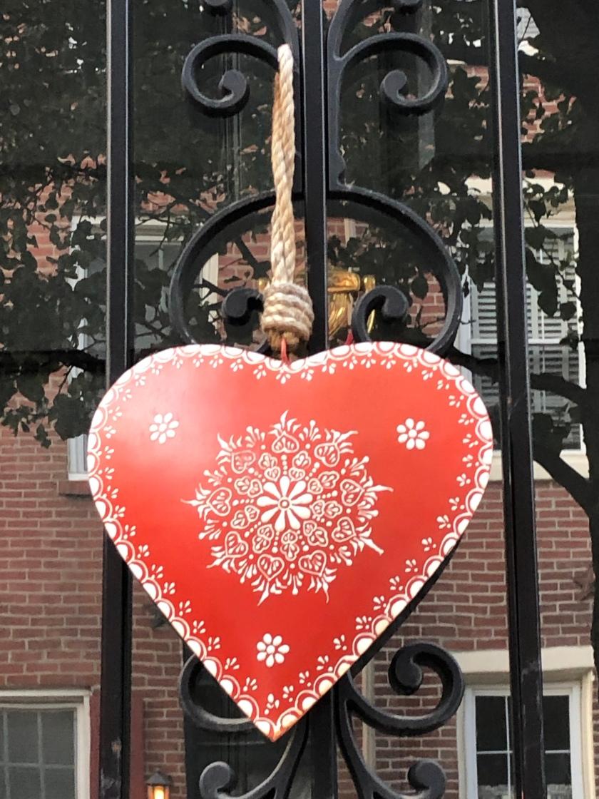 Swedish red metal Heart on iron gate, Rittenhouse Square, Philadelphia