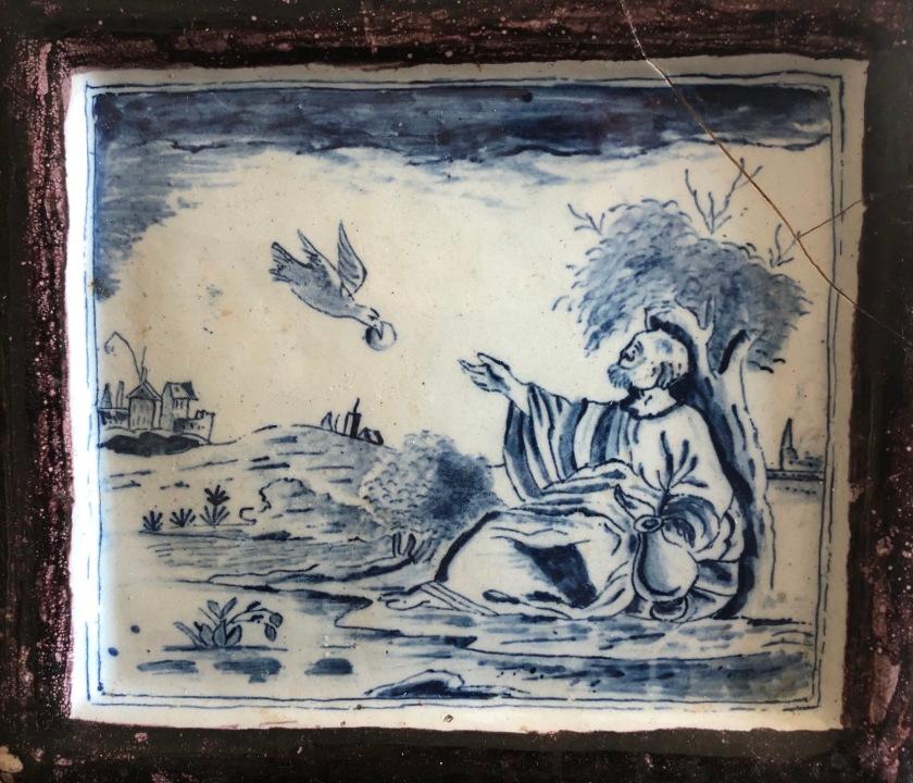 Elijah fed by ravens, 18th c Delft plaque