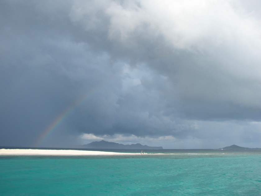 Rainbow in cloudy sky in Grenadines