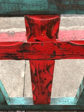 Cross on bench 2 red, Fredericksburg, TX