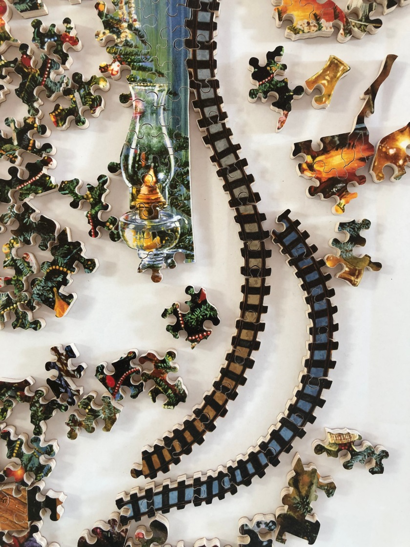 Train track puzzle pieces