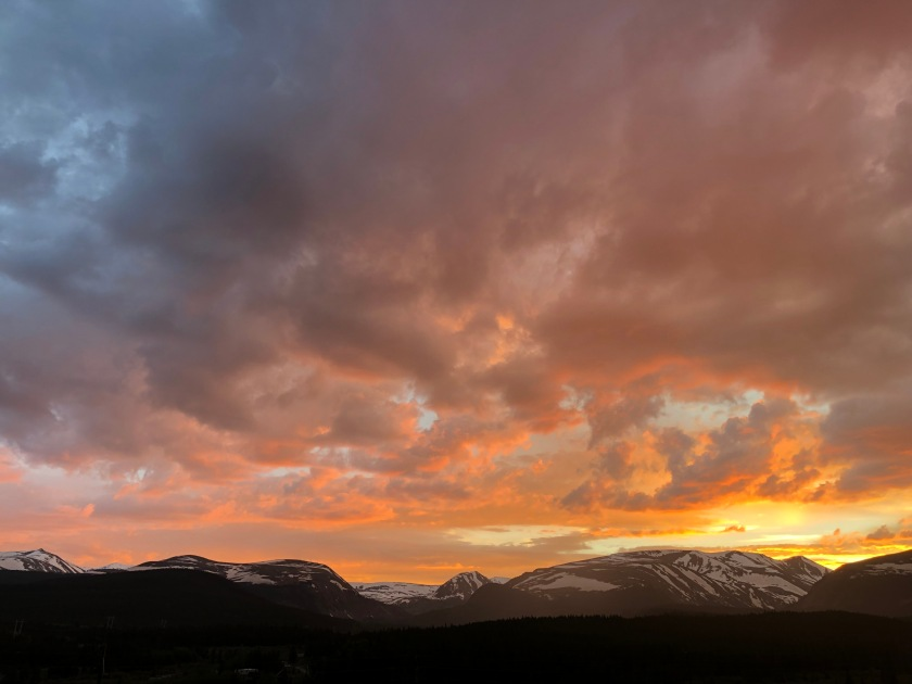 Sunset over snow-lined mountains, Alma, CO 6-19